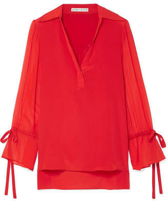 Alice + Olivia Alice Olivia - Geraldine Silk Crepe De Chine And Georgette Blouse - Red