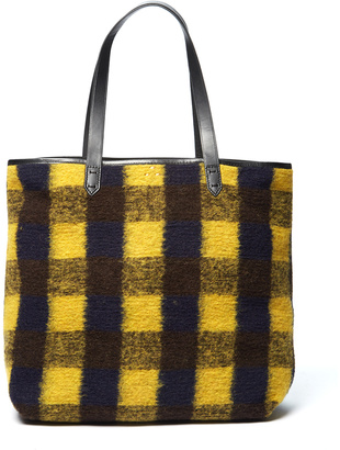 Yellow & Black Plaid Wool-Blend Commuter Tote $168 thestylecure.com