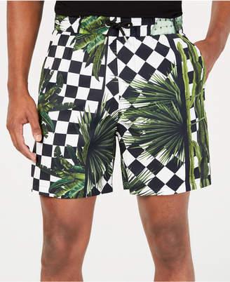 Just Cavalli Men Regular-Fit Check Garden-Print Shorts