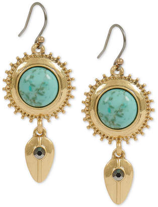 Lucky Brand Gold-Tone Pave & Stone Disc Drop Earrings