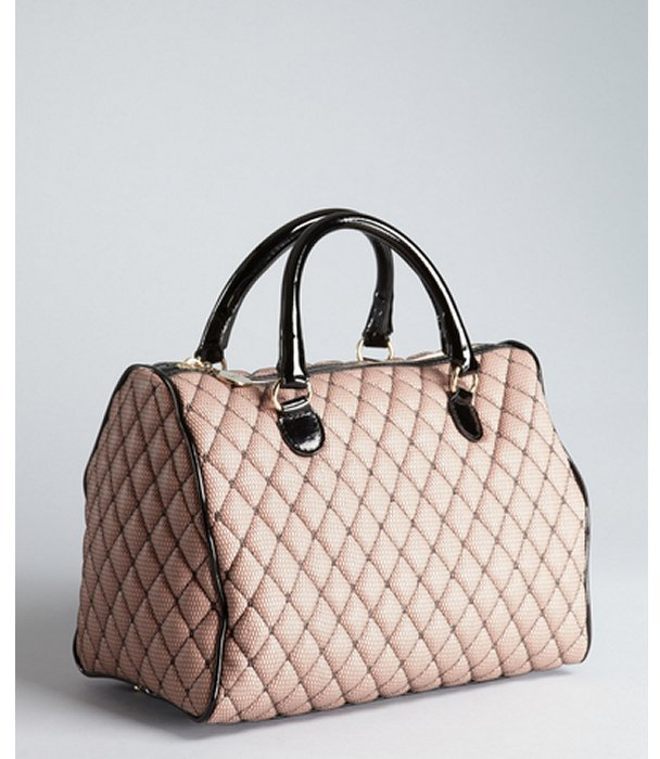 RED Valentino blush and black netted overlay quilted top handle satchel