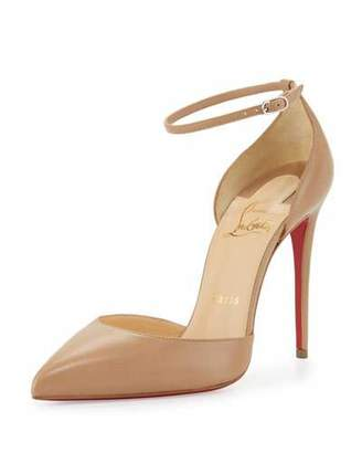 Christian Louboutin Uptown d'Orsay 100mm Red Sole Pump, Nude $845 thestylecure.com