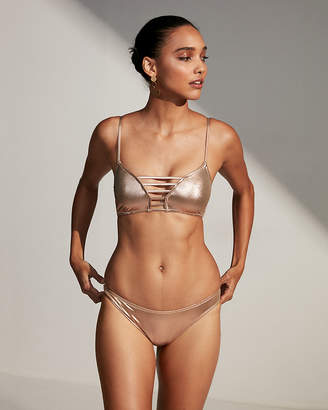Express Metallic Basic Bikini Swim Bottoms