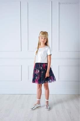 Girls Angel & Rocket Silver Foil Top Floral Skirt Dress - Silver