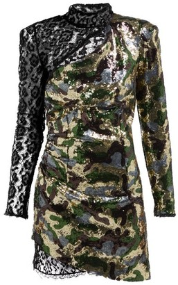 Dundas Camouflage And Leopard Lace Sequinned Mini Dress - Womens - Green Multi