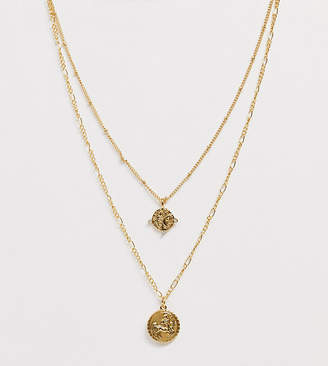 Reclaimed Vintage inspired 14k gold plated medallion coin multirow necklace