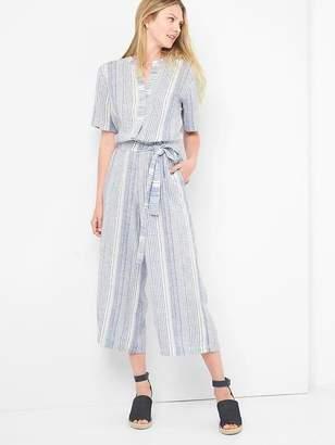 Linen stripe henley jumpsuit