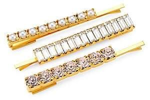 Swarovski Lelet Women's Blush Crystal & Freshwater Pearl 3-Piece Bobbi Pin Set