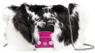 Furla foldover fur crossbody bag