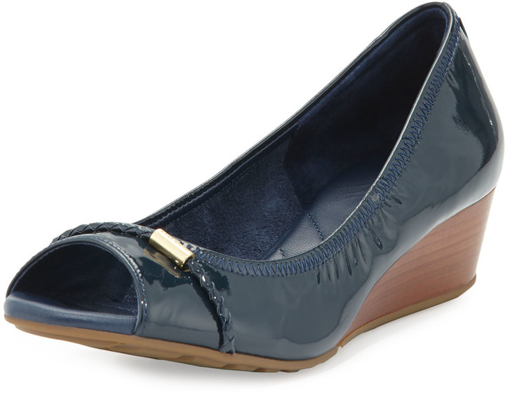 Cole Haan  Cole Haan Tali Open-Toe Leather Wedge Pump, Blazer Blue