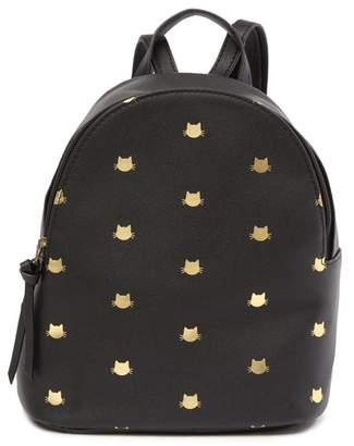 T-Shirt & Jeans Metallic Cat Printed Backpack