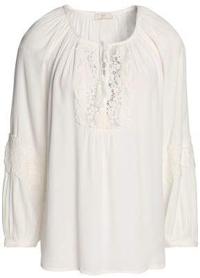 Joie Woman Tasseled, Lace-paneled, And Embroidered Silk-georgette Blouse White Size L Joie