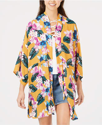Say What Juniors' Floral-Printed Tie-Front Kimono