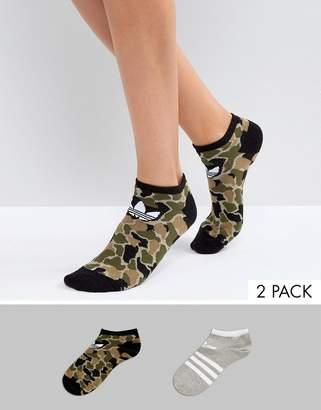 adidas Camo/Gray Printed 2 Pack Socks