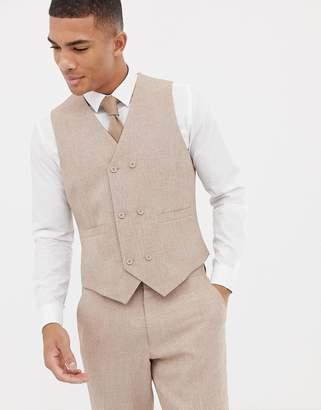 Hatch ASOS DESIGN wedding slim suit vest in camel cross