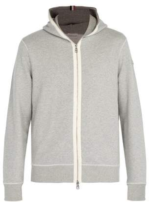 Moncler Hooded Zip Through Cotton Sweatshirt - Mens - Grey