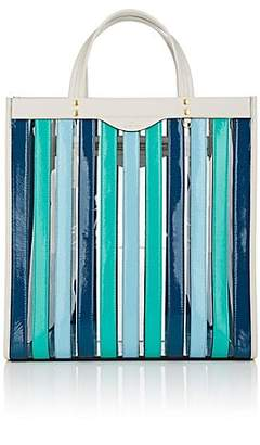 Anya Hindmarch Women's Striped Patent Leather Tote Bag - Aqua