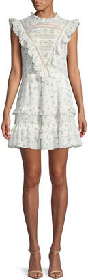 Rebecca Taylor Sleeveless Floral-Print Ruffle-Trim Mini Dress