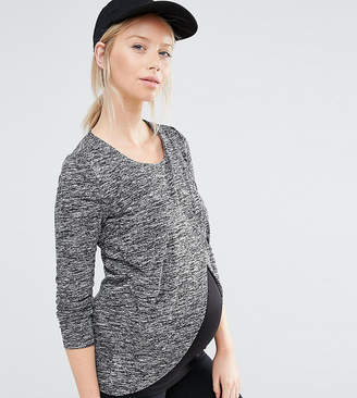 Mama Licious Mama.Licious Mamalicious Nursing Wrap Front Jersey Marl Top