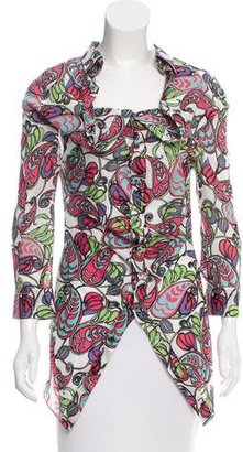 Junya Watanabe Printed Button-Up Top $95 thestylecure.com