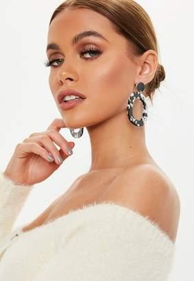 Missguided Black White Rectangle Drop Hoop Earrings