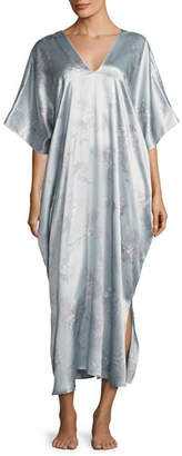 Natori Wisteria Waterfall Silk Caftan, Blue Pattern $320 thestylecure.com