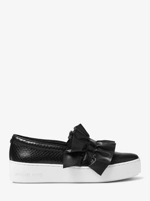 MICHAEL Michael Kors Bella Ruffled Embossed Leather Slip-On Sneaker
