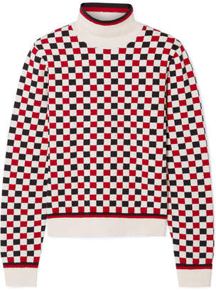 Gucci Checked Wool-blend And Terry Turtleneck Sweater - Ivory