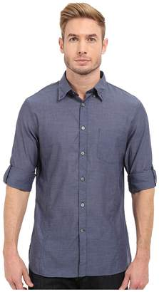 John Varvatos Roll Up Sleeve Shirt w/ Button Down Collar Single Pocket Men's Long Sleeve Button Up