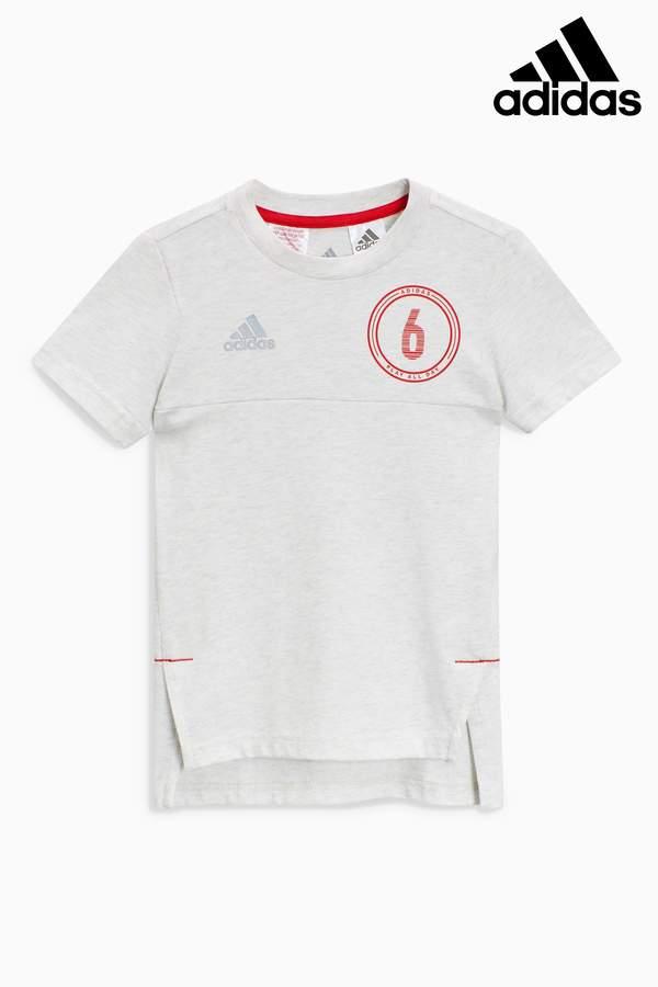 Boys adidas Little Kids Melange Football T-Shirt - White