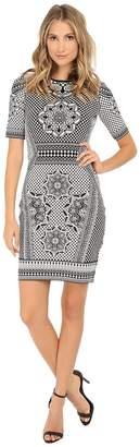 Adrianna Papell Scoop Neck Short Sleeve Jacqaurd Women's Dress