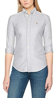 Polo Ralph Lauren Women's BD Kendal-Custom-Long Sleeve-Shirt Blouse, Mehrfarbig (0 Ebony/White 2K48)