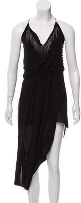 Saint Laurent Sleeveless Silk Midi Dress Black Sleeveless Silk Midi Dress
