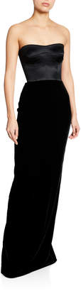 Brandon Maxwell Strapless Velvet Combo Bustier Gown