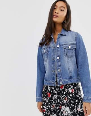 Miss Selfridge crop denim jacket in mid wash