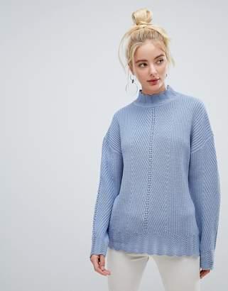 Fashion Union High Neck Jumper In Multi Rib Knit