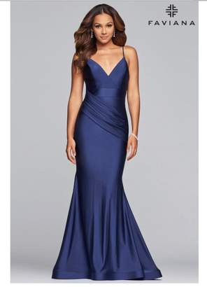 Faviana Navy Charmeuse Gown