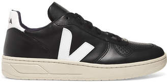 Veja V-10 Leather Sneakers - Black