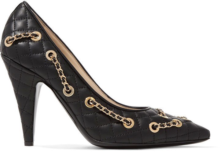 Moschino Moschino Embellished quilted leather pumps