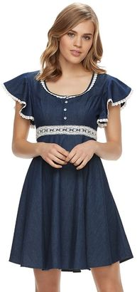 Disney's Beauty and the Beast Juniors' Chambray Crochet Dress $48 thestylecure.com