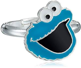 Sesame Street Kid's Brass Fine Silver Plated Enamel Cookie Monster Face Adjustable Ring