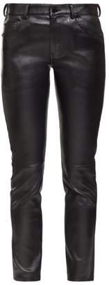 Saint Laurent Slim Leg Leather Trousers - Womens - Black