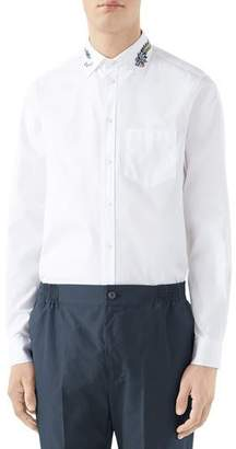 Gucci Men's Embroidered-Collar Pinpoint Sport Shirt