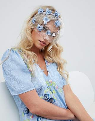 Asos DESIGN Pretty Floral Veil Headband