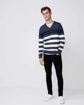 Express Striped Cotton V-Neck Sweater