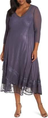 Komarov Asymmetric Lace Hem Dress
