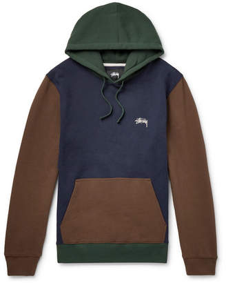 Stussy Logo-Embroidered Colour-Block Fleece-Back Cotton-Jersey Hoodie