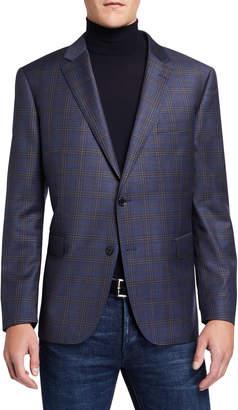 Neiman Marcus Men's Super 130s Wool Plaid Sport Coat