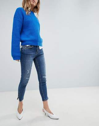 Oasis Split Hem Distressed Detail Skinny Jeans