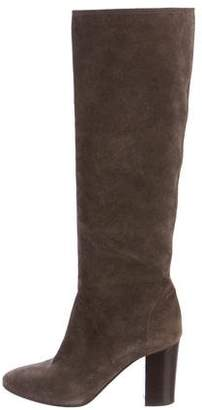 Lanvin Suede Round-Toe Knee-High Boots